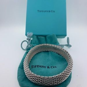 Tiffany & Co Mesh Basket Weave Bangle Bracelet.